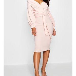 BRAND NEW! Boohoo Blush Wrap Midi Dress